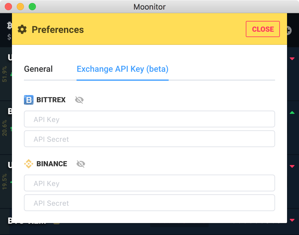 cryptocurrency app exchange api key